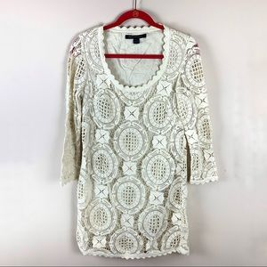 French Connection Lace 3/4 Sleeve Shift Dress